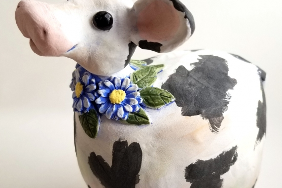 Cow Black and White Happy with Daisies