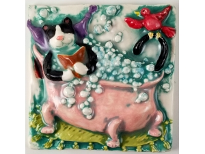 Cat in the Tub ceramic tile