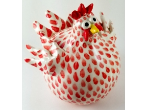 Whimsical Chicken Sculpture Red and White