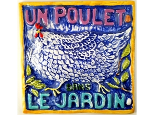 Ceramic Tile Un Poulet Das Le Jardin (A Chicken in the Garden)