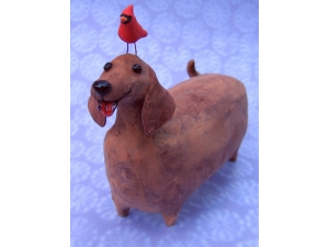 Dachshound with Red Bird