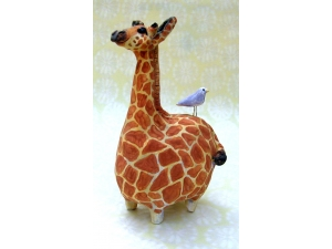 Giraffe with Bluebird #2