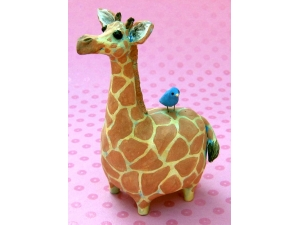 Giraffe with Bluebird