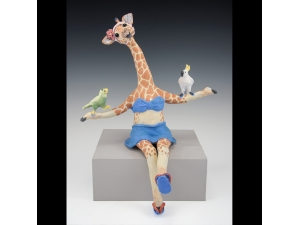 Giraffe with Jungle Birds