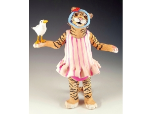 Tiger Swimmer in Vintage Bathing Suit